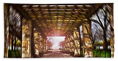 Beach Towel featuring the photograph Bridge To The Light From The Series The Imprint Of Man In Nature by Verana Stark