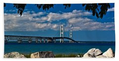 Bridge To The U.p. Beach Towel by Nick Zelinsky
