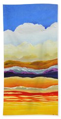 Beach Towel featuring the painting Bright As A Cumulus Cloud by Dan Whittemore
