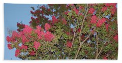 Bright Pink Floral Tree Beach Towel