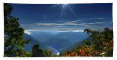 Bright Sun In Morning Cheat River Gorge Beach Sheet by Dan Friend