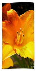 Bright Yellow Daylily Flower Beach Towel