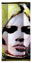 Beach Sheet featuring the digital art Brigitte Bardot by Daniel Janda