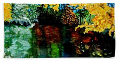 Beach Towel featuring the painting Brilliant Mountain Colors In Reflection by Lil Taylor