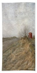 Beach Towel featuring the photograph British Phone Box by Liz  Alderdice