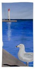 Bronte Lighthouse Gulls In Oil Beach Towel