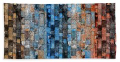 Beach Sheet featuring the digital art Bronze Blue Wall by Stephanie Grant