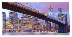 Brooklyn Bridge And New York City Skyscrapers Beach Towel