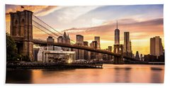 Brooklyn Bridge At Sunset  Beach Towel