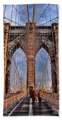 Beach Towel featuring the photograph Brooklyn Bridge by Paul Fearn