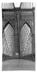 Brooklyn Bridge Promenade Beach Towel by Underwood Archives