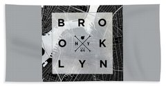 Brooklyn Square Bw Beach Towel