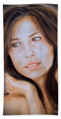 Beach Towel featuring the drawing Brown Haired And Lightly Freckled Beauty Fade To Black Version by Jim Fitzpatrick