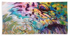 Brown Trout And Mayfly - Abstract Fly Fishing Art  Beach Sheet by Savlen Art