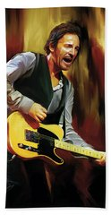 Bruce Springsteen Artwork Beach Sheet by Sheraz A