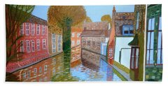 Beach Sheet featuring the painting Brugge Canal by Magdalena Frohnsdorff