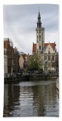 Brugge Canal Beach Sheet by Victoria Harrington