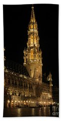 Beach Towel featuring the photograph Brussels At Night by Victoria Harrington