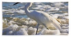Bubbles Around Snowy Egret Beach Sheet