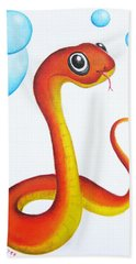 Bubbly Baby Snake Beach Towel by Oiyee At Oystudio
