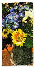 Bucket Of Flowers Beach Towel