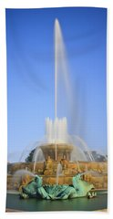Buckingham Fountain Beach Towel by Adam Romanowicz