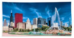 Buckingham Fountain Skyline Panorama Beach Sheet by Christopher Arndt