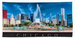 Buckingham Fountain Skyline Panorama Poster Beach Towel by Christopher Arndt