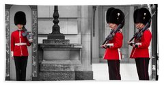 Buckingham Palace Guards Beach Towel by Matt Malloy