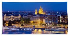 Budapest At Night Beach Sheet