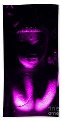 Beach Towel featuring the photograph Buddha Reflecting Purple by Linda Prewer