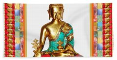 Buddha Sparkle Bronze Painted N Jewel Border Deco Navinjoshi  Rights Managed Images Graphic Design I Beach Towel