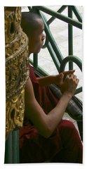 Buddhist Monk Leaning Against A Pillar Sule Pagoda Central Yangon Myanar Beach Towel