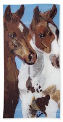 Beach Towel featuring the painting Buddies by Lucia Grilletto