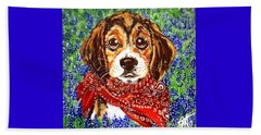 Buddy Dog Beagle Puppy Western Wildflowers Basset Hound  Beach Sheet