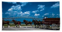 Budweiser Clydsdales And Blue Water Bridges Beach Towel