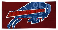 Buffalo Bills Football Team Retro Logo New York License Plate Art Beach Towel
