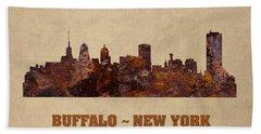Buffalo New York City Skyline Rusty Metal Shape On Canvas Beach Towel