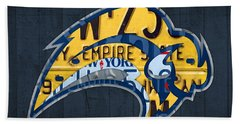Buffalo Sabres Hockey Team Retro Logo Vintage Recycled New York License Plate Art Beach Towel