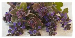 Beach Towel featuring the photograph Buglweed Blossoms And Leaves On Lace by Sandra Foster