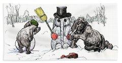 Building A Snow Elephant Beach Towel by Donna Tucker