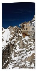 Beach Sheet featuring the photograph building in Aiguille du Midi - Mont Blanc by Antonio Scarpi