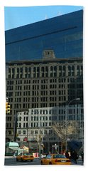 Beach Towel featuring the photograph Building Reflections Nyc by Emmy Marie Vickers