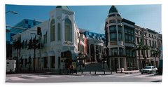 Buildings Along The Road, Rodeo Drive Beach Towel by Panoramic Images