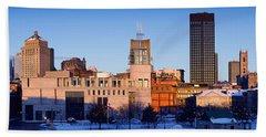 Buildings In Winter, Montreal, Quebec Beach Towel