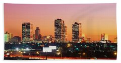 Buildings Lit Up At Dusk, Fort Worth Beach Towel