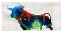 Bull Art - Love A Bull 2 - By Sharon Cummings Beach Sheet by Sharon Cummings