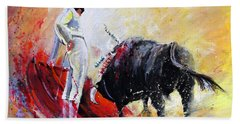 Bull In Yellow Light Beach Towel