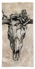 Bull Skull And Rose Beach Towel by Emerico Imre Toth