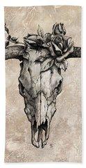 Bull Skull And Rose Beach Sheet by Emerico Imre Toth